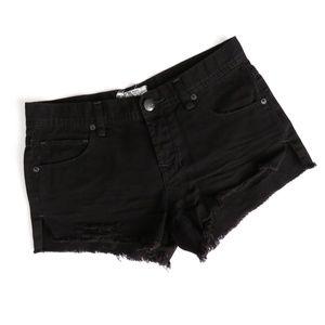 Free People Distressed Shorts Frayed Black Denim
